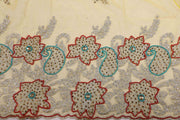 Hand Embroidered Blouse Design # 3298 - Yellow - 1.7 Yards