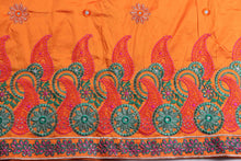 Load image into Gallery viewer, Machine Embroidered George Wrapper Design # 7079 - Burnt Orange - Without Blouse