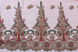 Hand Embroidered Blouse Design # 3190 - Baby Pink - 1.7 Yards