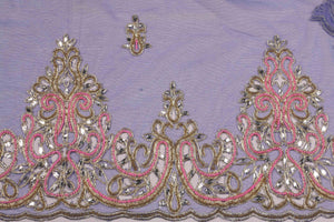 Hand Embroidered Blouse Design # 3309 - Royal Blue - 1.7 Yards