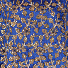 Load image into Gallery viewer, Hand Embroidered Fabric Design # 4148 - Royal Blue - Per Yard