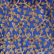 Hand Embroidered Fabric Design # 4148 - Royal Blue - Per Yard