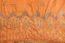 Load image into Gallery viewer, Machine Embroidered George Wrapper Design # 7060 - Saffron - Without Blouse