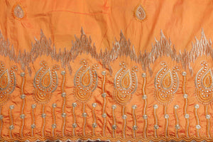 Machine Embroidered George Wrapper Design # 7060 - Saffron - Without Blouse
