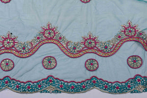 Hand Embroidered Blouse Design # 3229 - Army Green - 1.7 Yards
