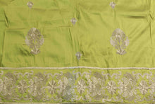 Load image into Gallery viewer, Machine Embroidered George Wrapper Design # 7038 - Lime Green - Without Blouse