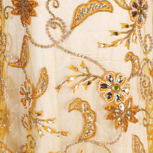 Hand Embroidered Fabric Design # 4094 - Golden Yellow - 5 Yard Piece