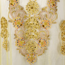 Load image into Gallery viewer, Hand Embroidered Fabric Design # 4100 - Yellow - 5 Yard Piece