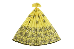 Machine Embroidered George Wrapper Design # 7456 - Yellow - With Blouse