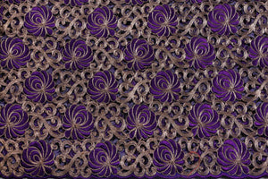 Machine Embroidered George Wrapper Design # 7429 - Purple - With Blouse