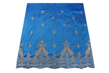 Load image into Gallery viewer, Hand Stoned George Wrapper Design # 6688 - Turquoise Blue - With Blouse