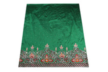Load image into Gallery viewer, Hand Embroidered George Wrapper Design # 9705 - Pure Green - With Blouse