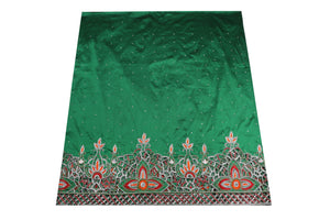 Hand Embroidered George Wrapper Design # 9705 - Pure Green - With Blouse