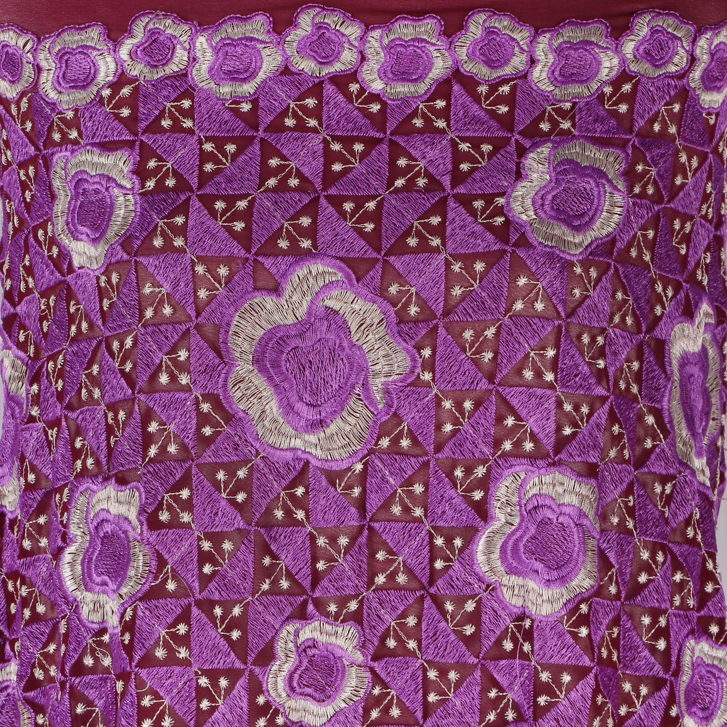 Machine Embroidered Fabric Design # 4128 -Purple  - 5 Yard Piece