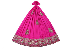 Hand Embroidered George Wrapper Design # 9418 - Fuchsia Pink - Without Blouse