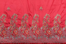 Load image into Gallery viewer, Machine Embroidered George Wrapper Design # 7438 - Coral - With Blouse