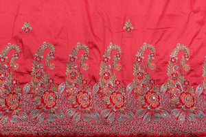 Machine Embroidered George Wrapper Design # 7438 - Coral - With Blouse