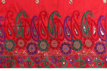 Load image into Gallery viewer, Machine Embroidered George Wrapper Design # 7063 - Red - Without Blouse