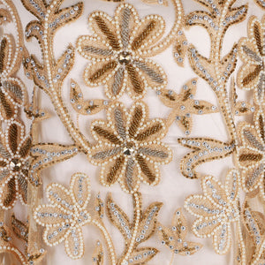 Hand Embroidered Fabric Design # 4106 -Gold - 5 Yard Piece