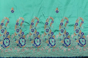Machine Embroidered George Wrapper Design # 7438 - Aqua Blue- With Blouse