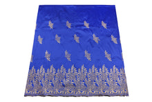 Load image into Gallery viewer, Machine Embroidered George Wrapper Design # 7452 - Royal Blue - With Blouse
