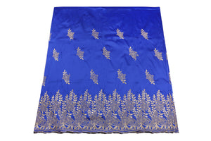 Machine Embroidered George Wrapper Design # 7452 - Royal Blue - With Blouse