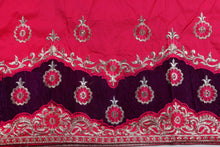 Load image into Gallery viewer, Machine Embroidered George Wrapper Design # 7071 - Fuchsia Pink - Without Blouse