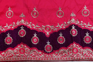 Machine Embroidered George Wrapper Design # 7071 - Fuchsia Pink - Without Blouse