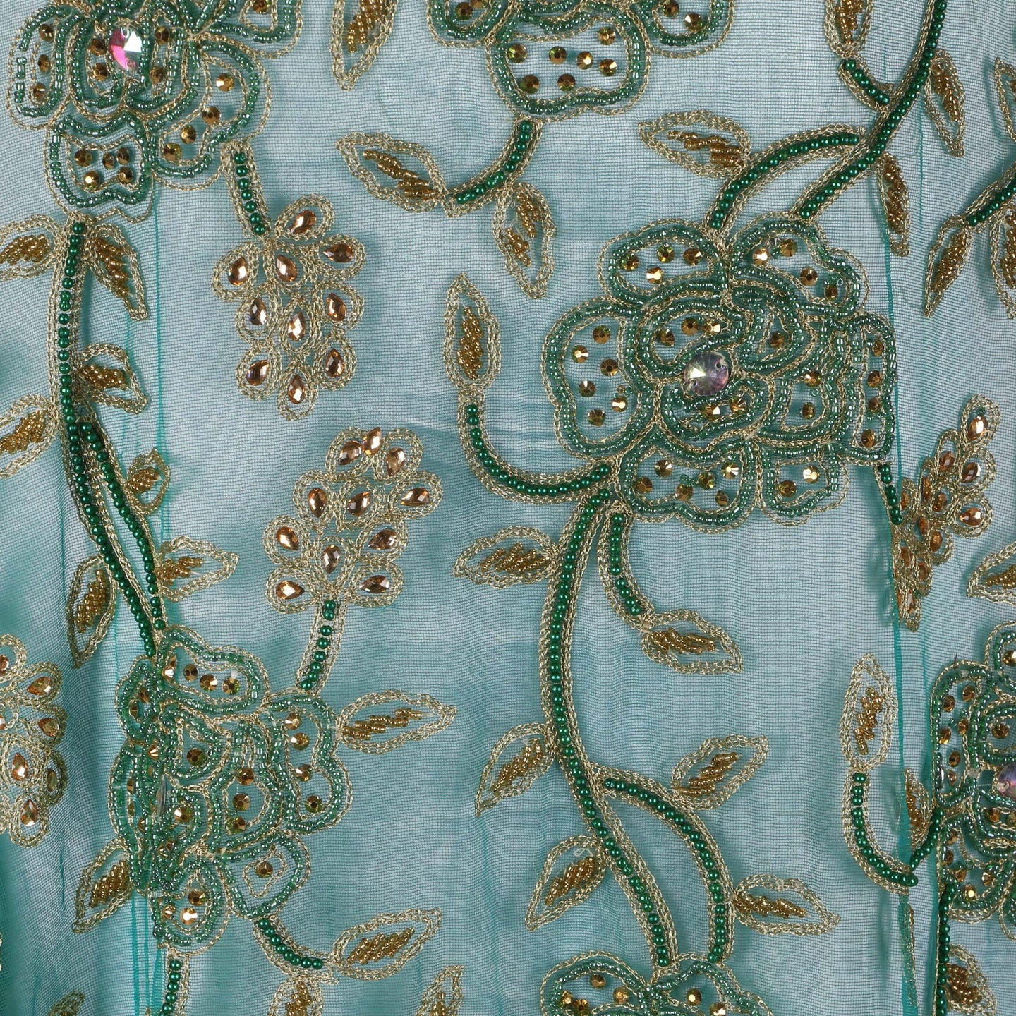 Hand Embroidered Fabric Design # 4149 - Teal Green - 5 Yard Piece