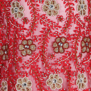 Hand Embroidered Fabric Design # 4054 - Coral - Per Yard