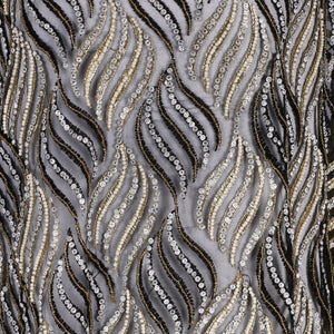 Hand Embroidered Fabric Design # 4114 - Black - 5 Yard Piece