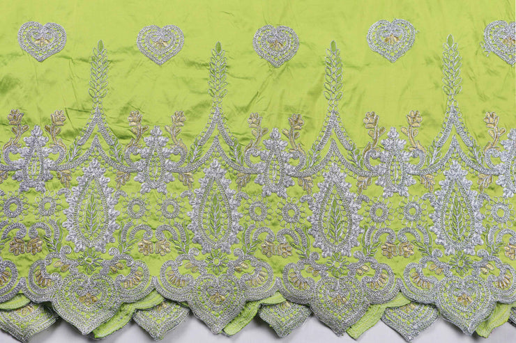 Machine Embroidered George Wrapper Design # 7406 - Lime Green - With Blouse