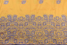 Load image into Gallery viewer, Machine Embroidered George Wrapper Design # 7439 - Yellow Gold - Contrast Blouse