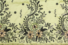 Load image into Gallery viewer, Machine Embroidered George Wrapper Design # 7461 - Lime Green - With Contrast Blouse