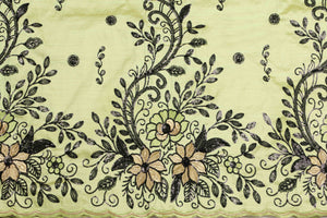 Machine Embroidered George Wrapper Design # 7461 - Lime Green - With Contrast Blouse