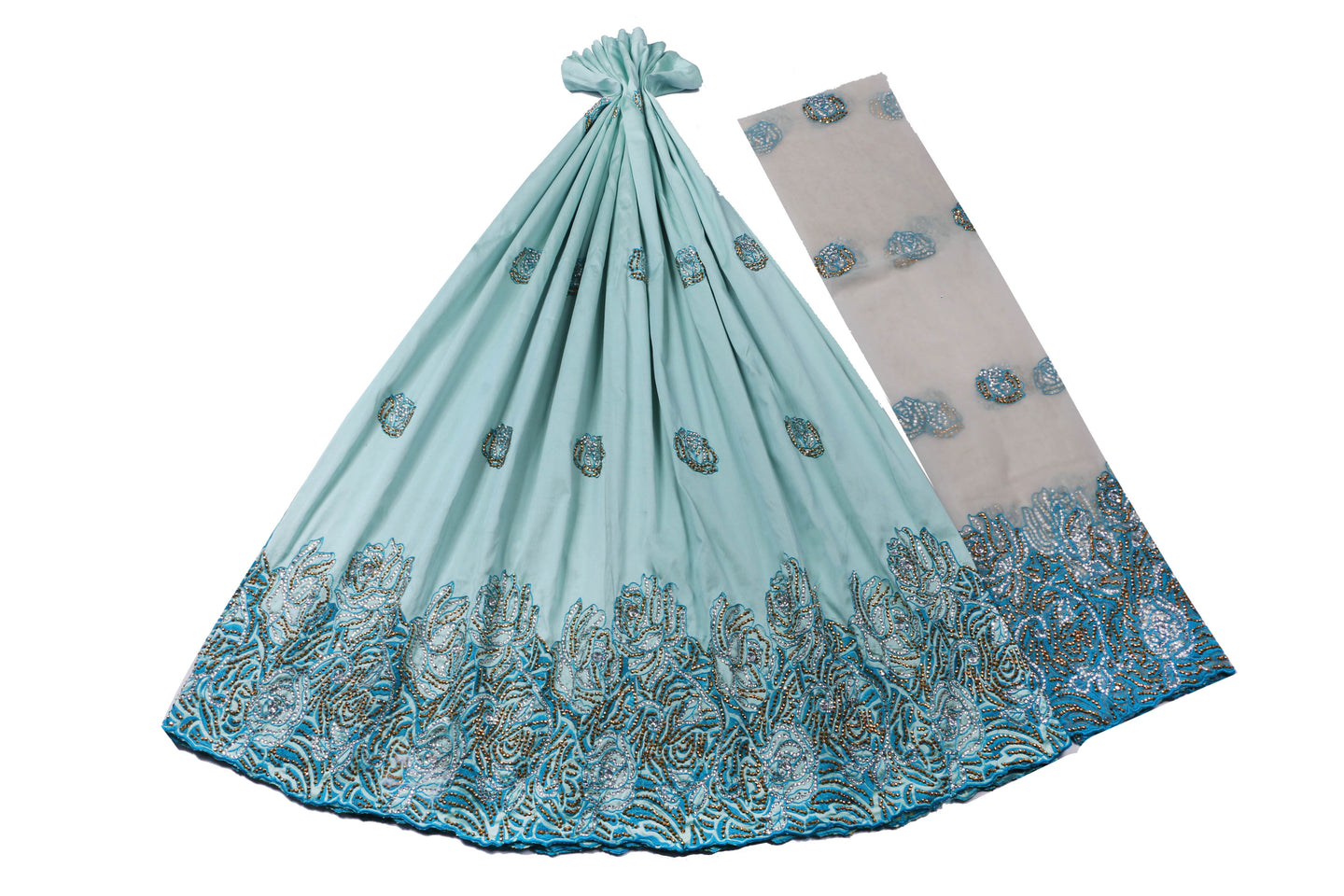 Hand Stoned George Wrapper Design # 6588 - Sky Blue - With Blouse