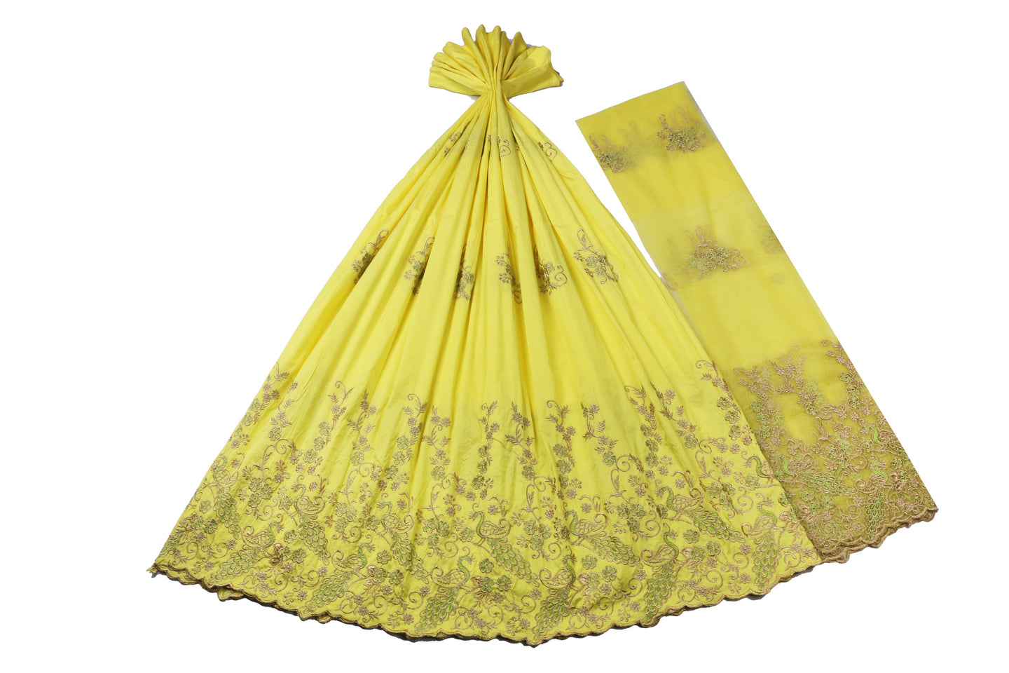 Machine Embroidered George Wrapper Design # 7403 - Yellow - With Blouse
