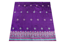 Load image into Gallery viewer, Machine Embroidered George Wrapper Design # 7097 - Purple - Without Blouse