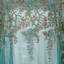 Load image into Gallery viewer, Hand Embroidered Fabric Design # 4186 - Aqua Green - 5 Yard Piece