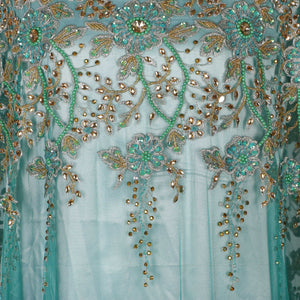 Hand Embroidered Fabric Design # 4186 - Aqua Green - 5 Yard Piece