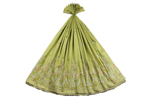 Machine Embroidered George Wrapper Design # 7067 - Lime Green - Without Blouse