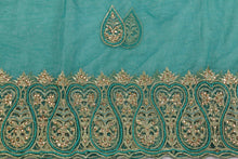 Load image into Gallery viewer, Hand Embroidered Blouse Design # 3394 - Teal Green - 1.75 Yards