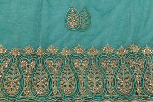 Hand Embroidered Blouse Design # 3394 - Teal Green - 1.75 Yards
