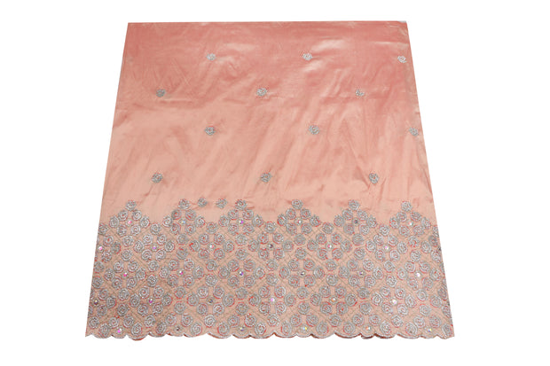 Hand Stoned George Wrapper Design # 6690 - Peach - With Blouse
