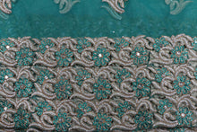 Load image into Gallery viewer, Hand Embroidered George Wrapper Design # 9454 - Teal Green - With Blouse