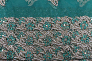 Hand Embroidered George Wrapper Design # 9454 - Teal Green - With Blouse