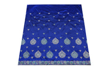 Load image into Gallery viewer, Hand Embroidered George Wrapper Design # 9668 - Royal Blue - With Contrast Blouse