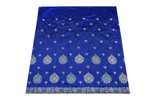 Hand Embroidered George Wrapper Design # 9668 - Royal Blue - With Contrast Blouse