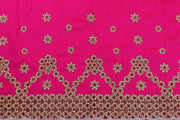 Machine Embroidered George Wrapper Design # 7459 - Fuchsia Pink - With Blouse