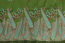 Load image into Gallery viewer, Machine Embroidered George Wrapper Design # 7074 - Olive Green  - With Blouse